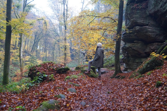 woman admiring Fall view Beaufort Luxemburg
