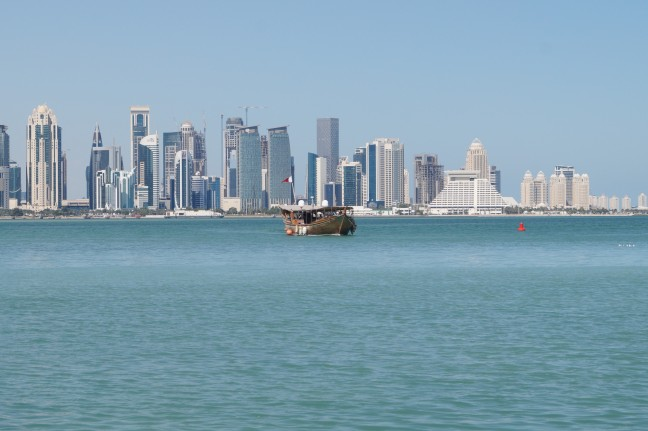 typical dhow crossing Doha Bay